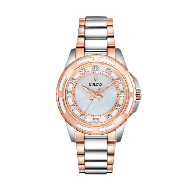Bulova Women's Diamond Two Tone Stainless Steel Watch - 98P134, multicolor thumbnail