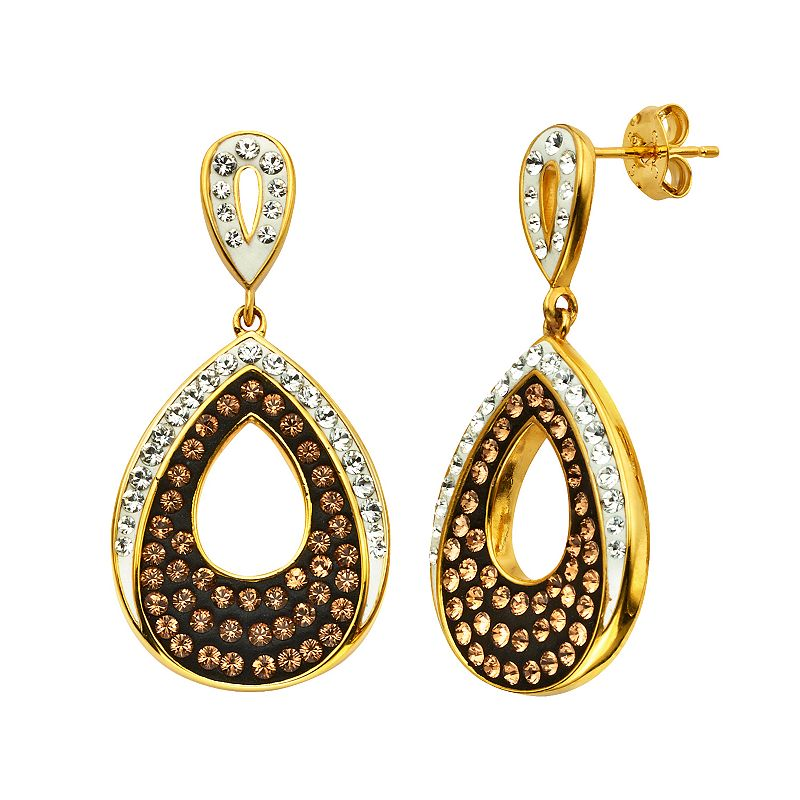Champagne Brilliance 18k Gold Over Silver Crystal Teardrop Earrings - Made with Swarovski Crystals