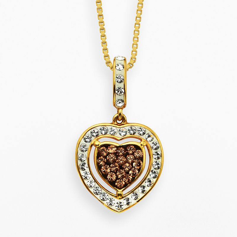 Champagne Brilliance 18k Gold Over Silver Crystal Heart Pendant - Made with Swarovski Crystals