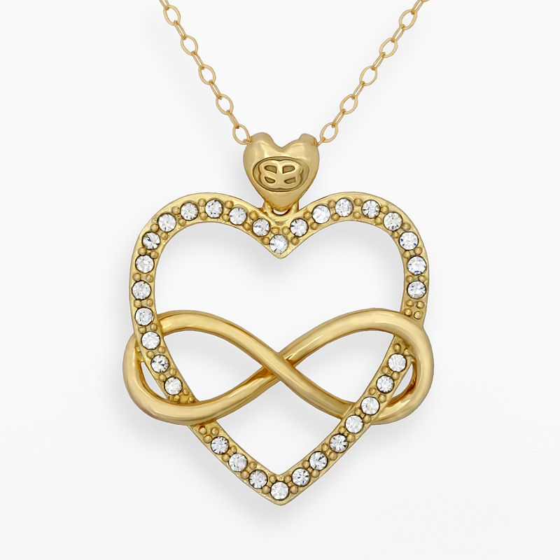 AMORE by SIMONE I. SMITH 18k Gold Over Silver Crystal Infinity Heart Pendant