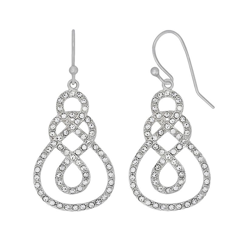 AMORE by SIMONE I. SMITH Platinum Over Silver Crystal Infinity Drop Earrings