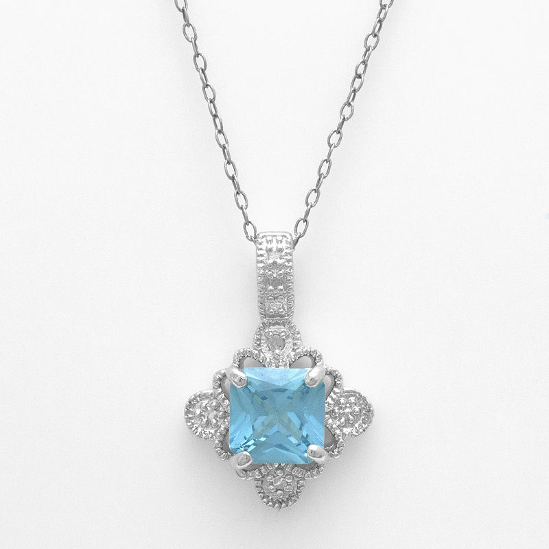 Sterling Silver Lab-Created Blue Topaz and Diamond Accent Pendant
