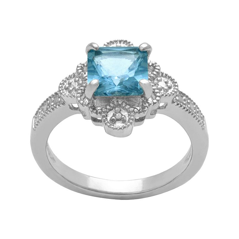 Sterling Silver Lab-Created Blue Topaz and Diamond Accent Ring
