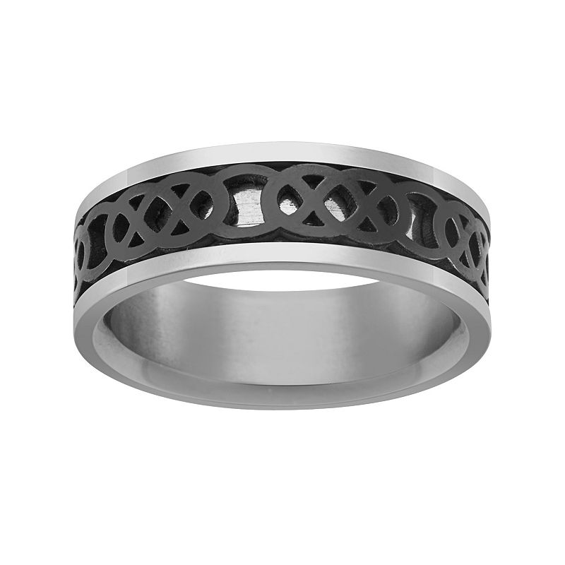 Black Ion-Plated Stainless Steel and Stainless Steel Celtic Knot Spinner Band