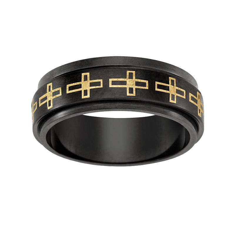 Black and Yellow Ion-Plated Titanium Sideways Cross Spinner Band