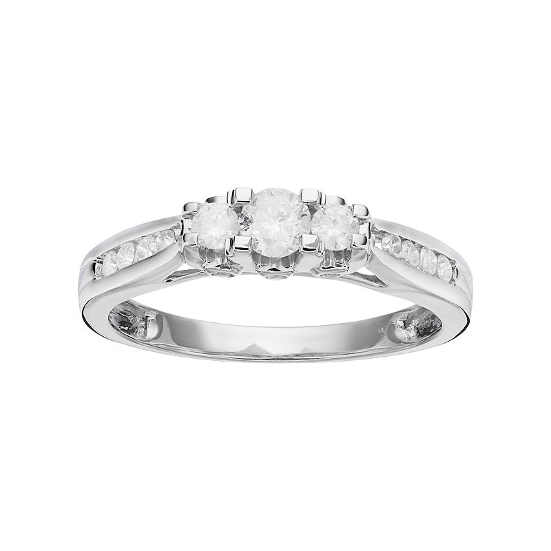 Round-Cut Diamond 3-Stone Engagement Ring in 10k White Gold (1/2 ct. T.W.)