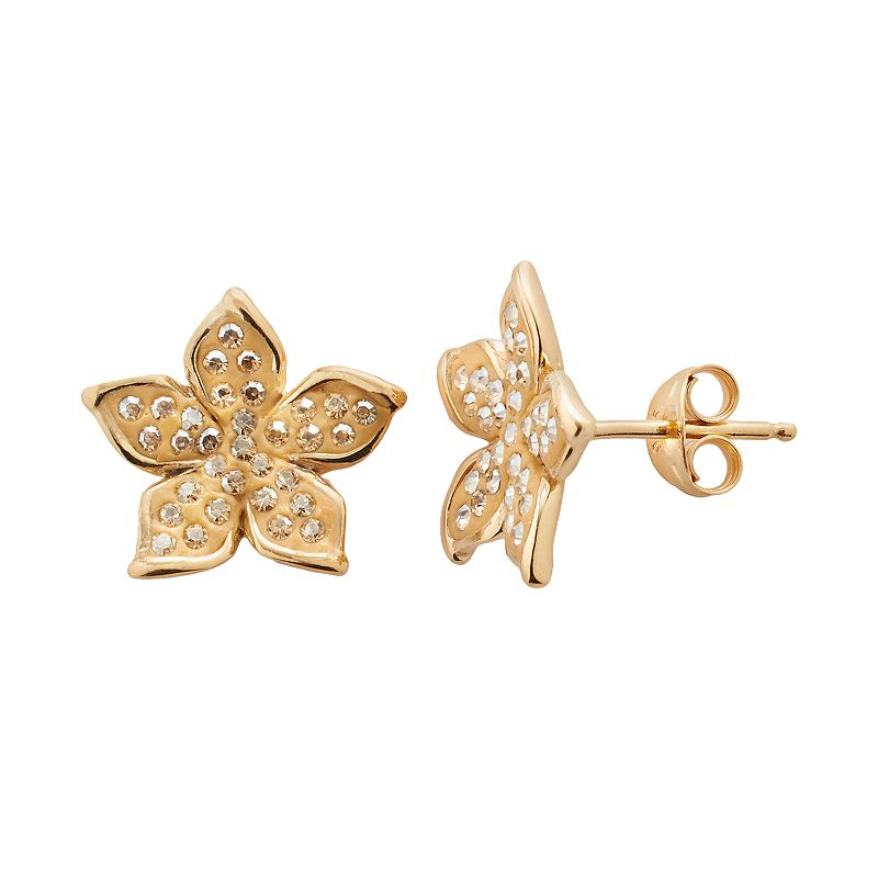 Artistique 18k Gold Over Silver Crystal Flower Stud Earrings - Made with Swarovski Crystals