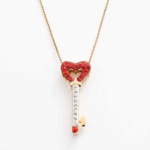 Artistique 18k Gold Over Silver Crystal Heart Key Pendant - Made with Swarovski Crystals