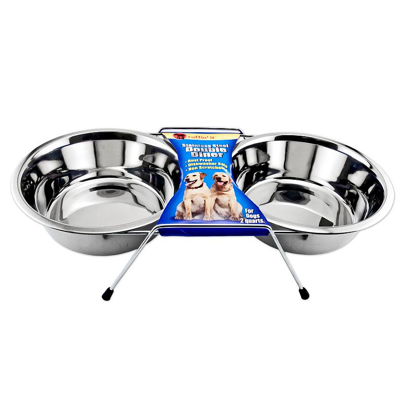 Ruffin' It 64-oz. Stainless Steel Double Diner Pet Bowl Set