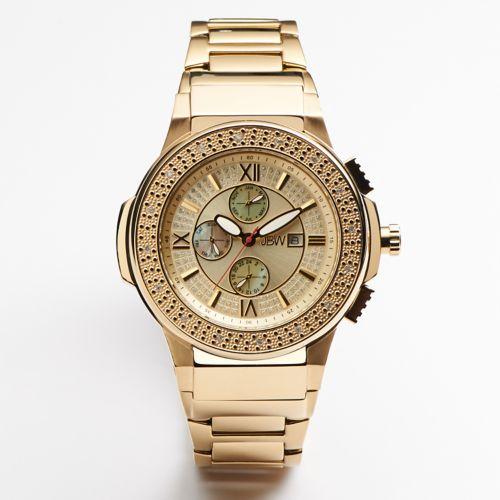 JBW Men's Saxon Diamond & Crystal 18k Gold Over Stainless Steel Watch - JB-6101-D