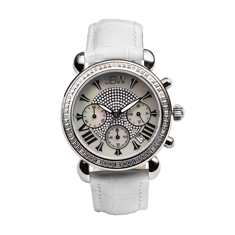 JBW Women's Victory Diamond Leather Chronograph Watch