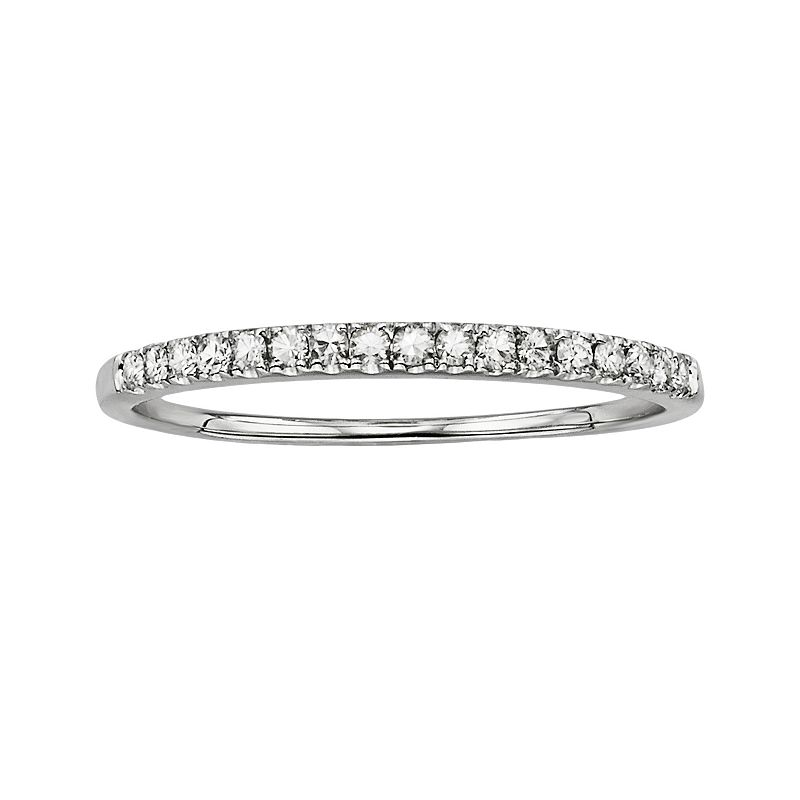 Forever Brilliant 14k White Gold 1/7-ct. T.W. Round-Cut Lab-Created Moissanite Band