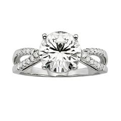 Forever Brilliant Round-Cut Lab-Created Moissanite Crisscross Engagement Ring in 14k White Gold (3 ct. T.W.) by