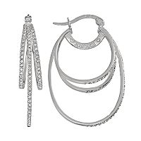 AMORE by SIMONE I. SMITH Platinum Over Silver Crystal Oval Hoop Earrings