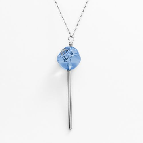AMORE by SIMONE I. SMITH A Sweet Touch of Hope Platinum Over Silver Crystal Lollipop Pendant