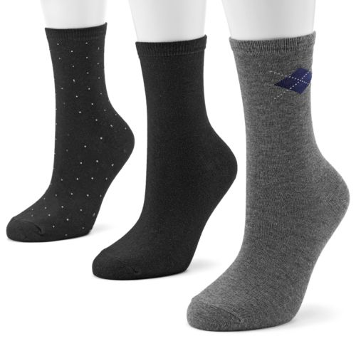 SONOMA life + style® 3-pk. Pin-Dot and Argyle Crew Socks