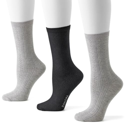 SONOMA life + style® 3-pk. Pin-Dot and Argyle Crew Socks