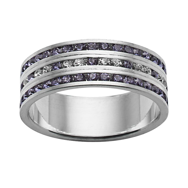 Traditions Silver-Plated Swarovski Crystal Multirow Ring