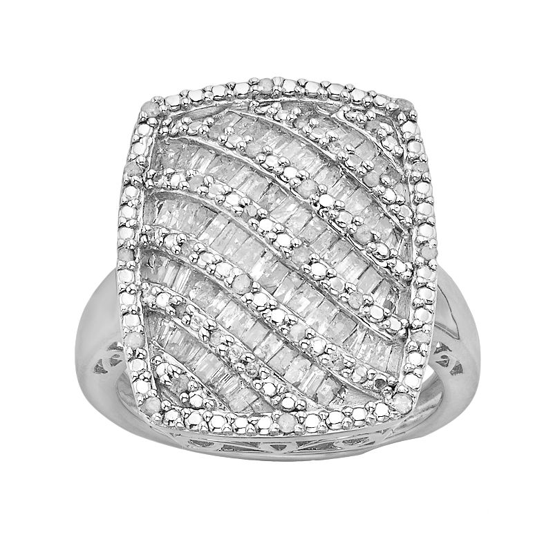 Sterling Silver 1-ct. T.W. Diamond Striped Rectangle Ring