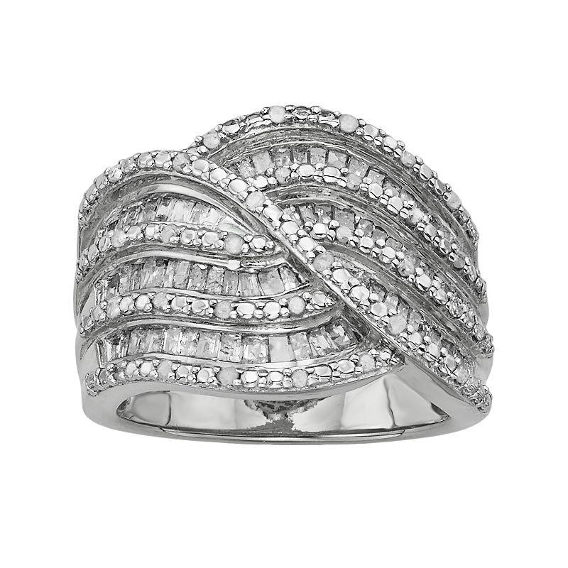 Sterling Silver 1-ct. T.W. Diamond Twist Multirow Ring
