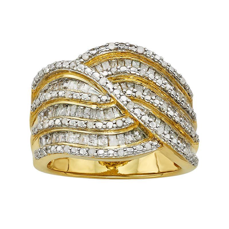 14k Gold Over Silver 1-ct. T.W. Diamond Twist Multirow Ring