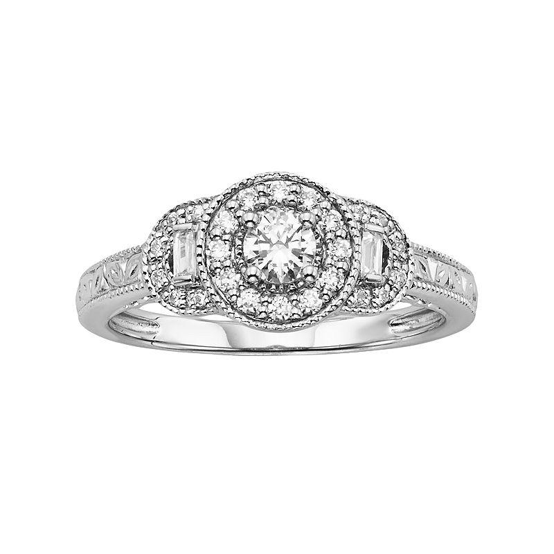 Simply Vera Vera Wang Diamond Halo Engagement Ring In 14k
