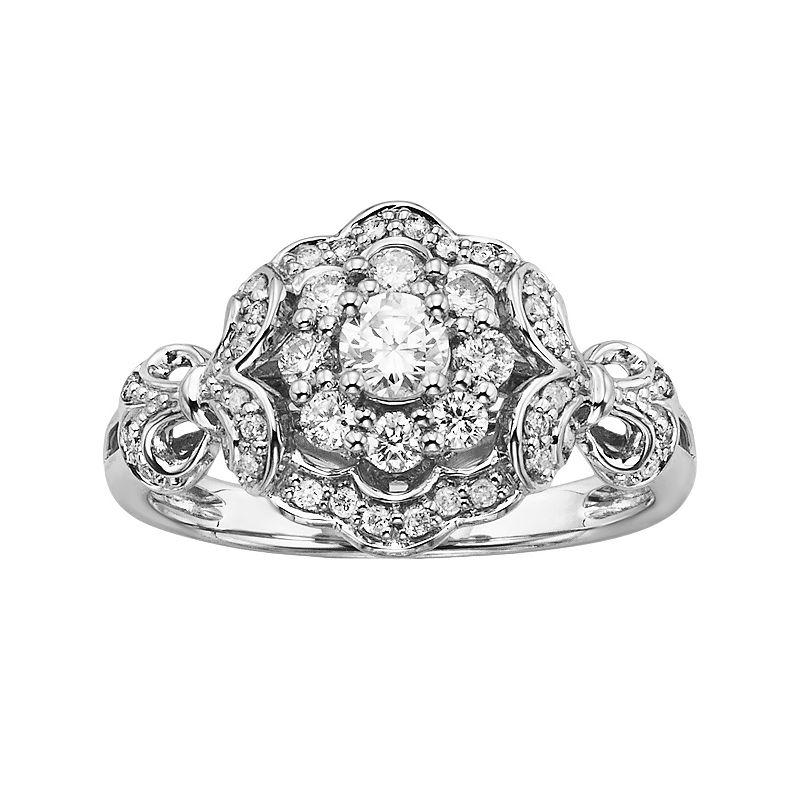 Simply Vera Vera Wang Diamond Halo Engagement Ring in 14k White Gold (5/8 ct. T.W.)