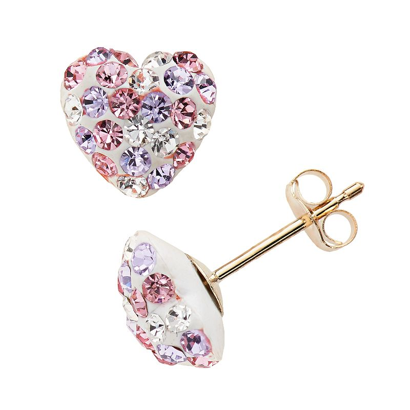 Gold 'N' Ice 10k Gold Crystal Heart Stud Earrings - Made with Swarovski Crystals