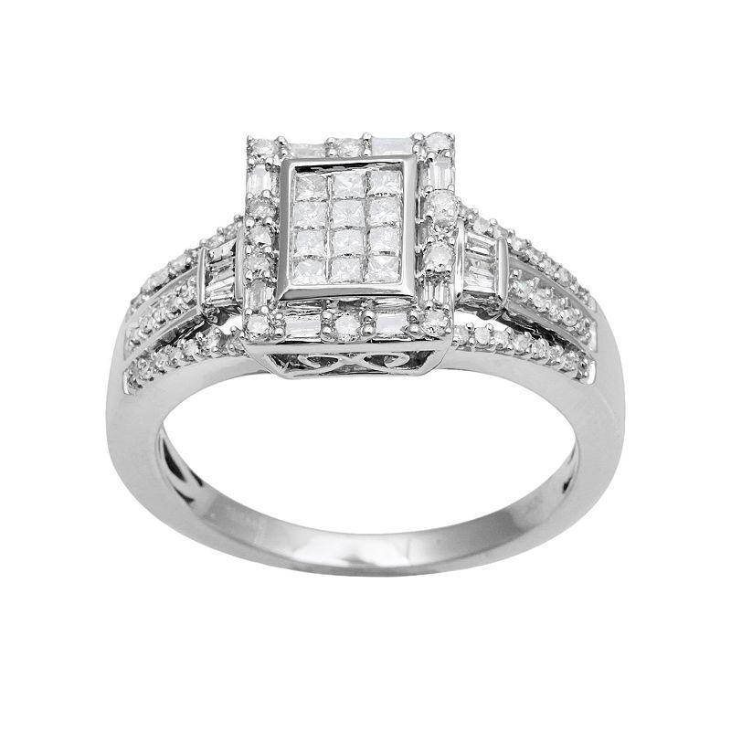 10k White Gold 1/2-ct. T.W. Diamond Rectangular Halo Ring
