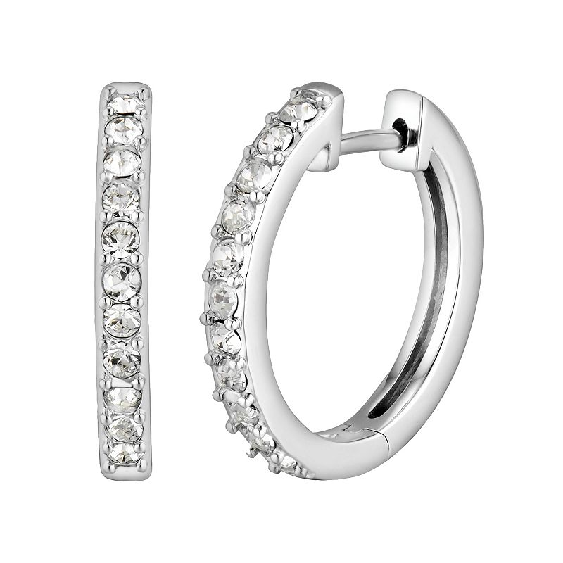 DiamonLuxe Crystal Sterling Silver Hoop Earrings - Made with Swarovski Crystals