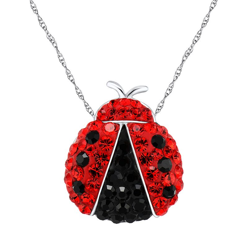 DiamonLuxe Crystal Sterling Silver Ladybug Pendant - Made with Swarovski Crystals
