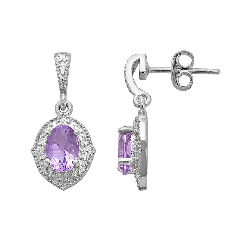Sterling Silver Amethyst and Diamond Accent Marquise Drop Earrings
