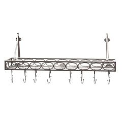 Old Dutch Antique Pewter Bookshelf Pot Rack by