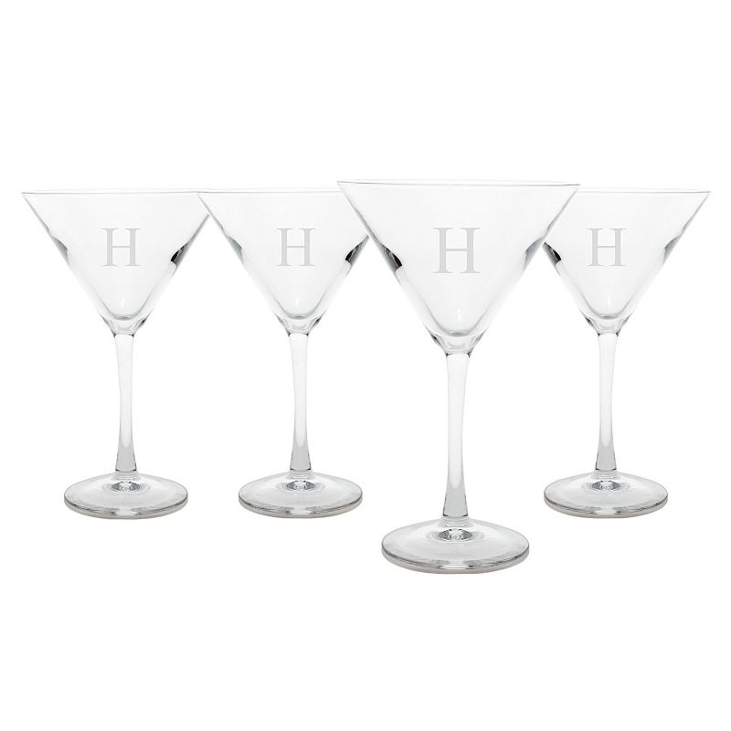 Cathy's Concepts 4-pc. Monogram Martini Glass Set