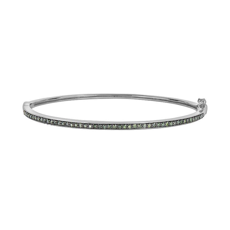Sterling Silver 1/2-ct. T.W. Green Diamond Bangle Bracelet