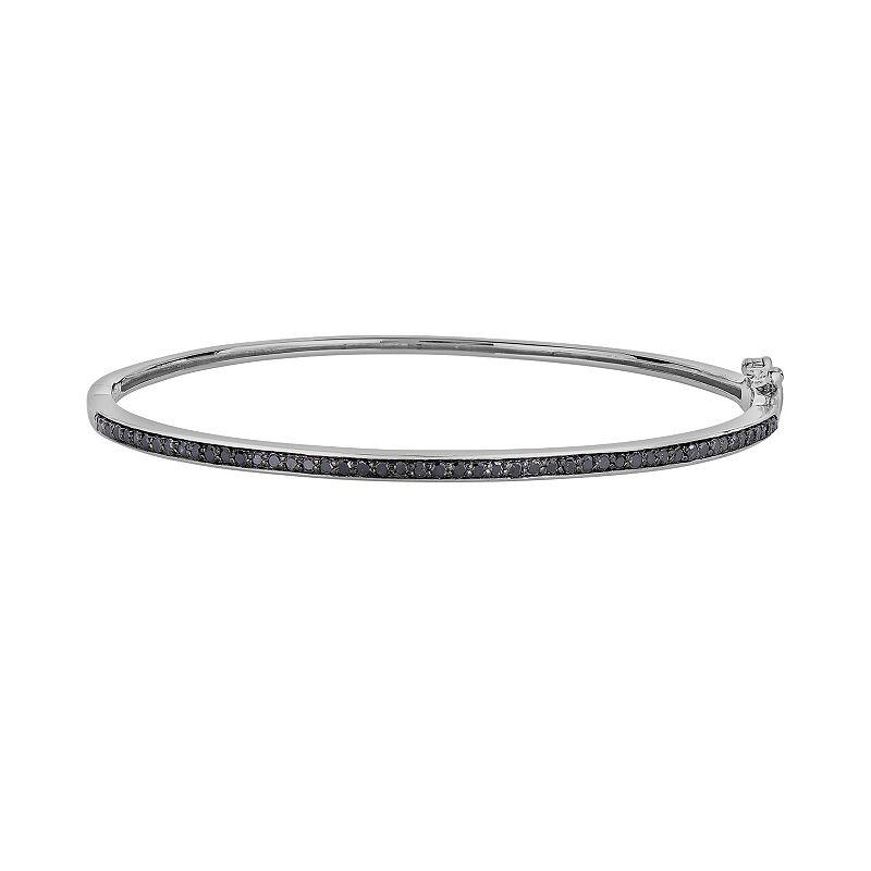 Sterling Silver 1/2-ct. T.W. Black Diamond Bangle Bracelet