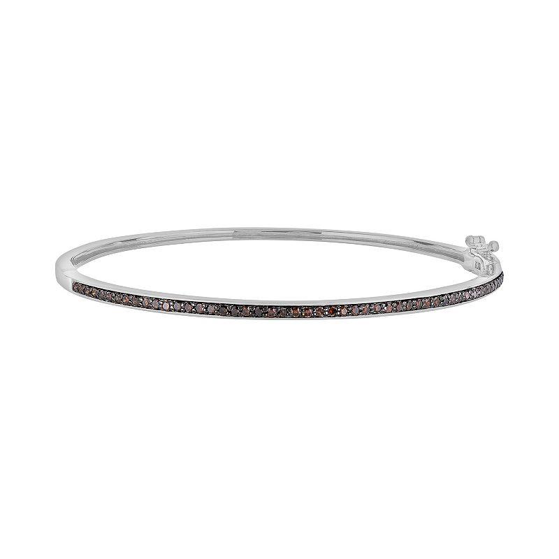 Sterling Silver 1/2-ct. T.W. Red Diamond Bangle Bracelet