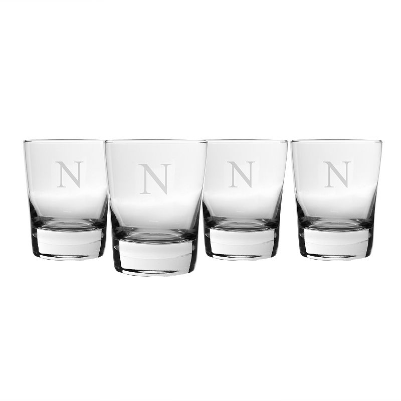 Cathy's Concepts 4-pc. 13.25-oz. Monogram Double Old-Fashioned Glass Set