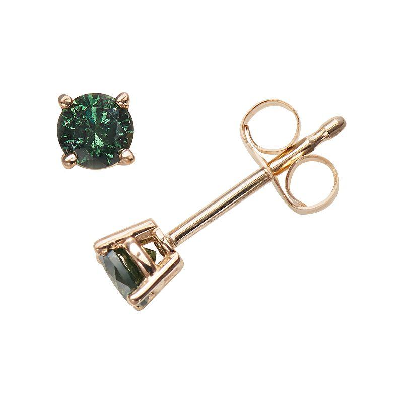 14k Gold 1/3-ct. T.W. Round-Cut Green Diamond Stud Earrings