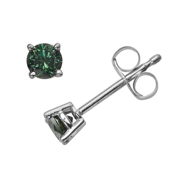 14k White Gold 1/3-ct. T.W. Round-Cut Green Diamond Stud Earrings