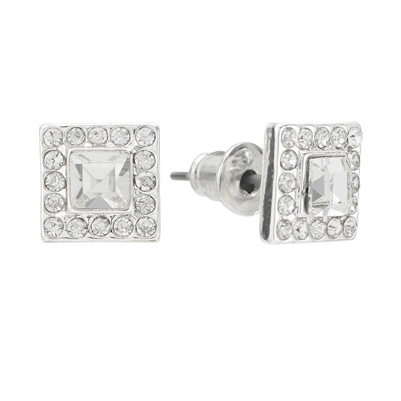 LC Lauren Conrad Silver Tone Simulated Crystal Square Stud Earrings