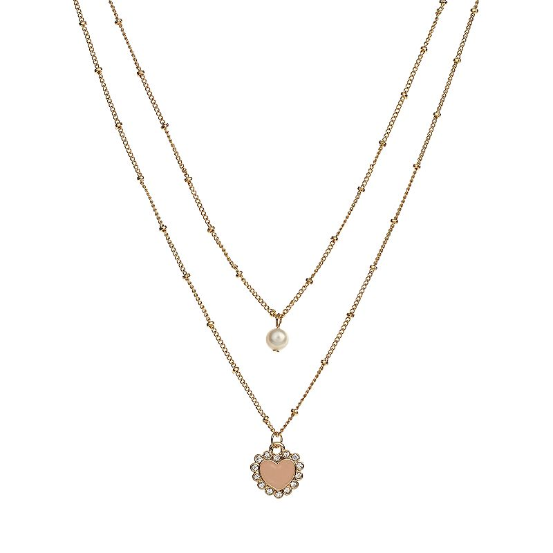 LC Lauren Conrad Gold Tone Simulated Pearl and Simulated Crystal Multistrand Heart Pendant