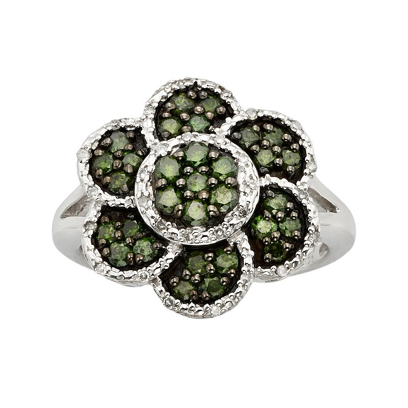 Sterling Silver 1-ct. T.W. Green and White Diamond Flower Ring