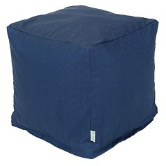 Majestic Home Goods Indoor Outdoor Small Navy Blue Cube Ottoman