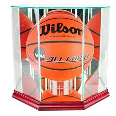 Perfect Cases Octagonal Basketball Display Case Cherry Finish by