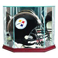 Perfect Cases Octagonal Full-Size Football Helmet Display Case - Cherry Finish