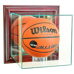 Perfect Cases Wall-Mounted Basketball Display Case Cherry Finish by