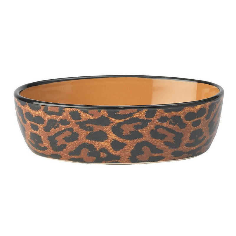 PetRageous Designs Leopard Buzz Oval Pet Bowl