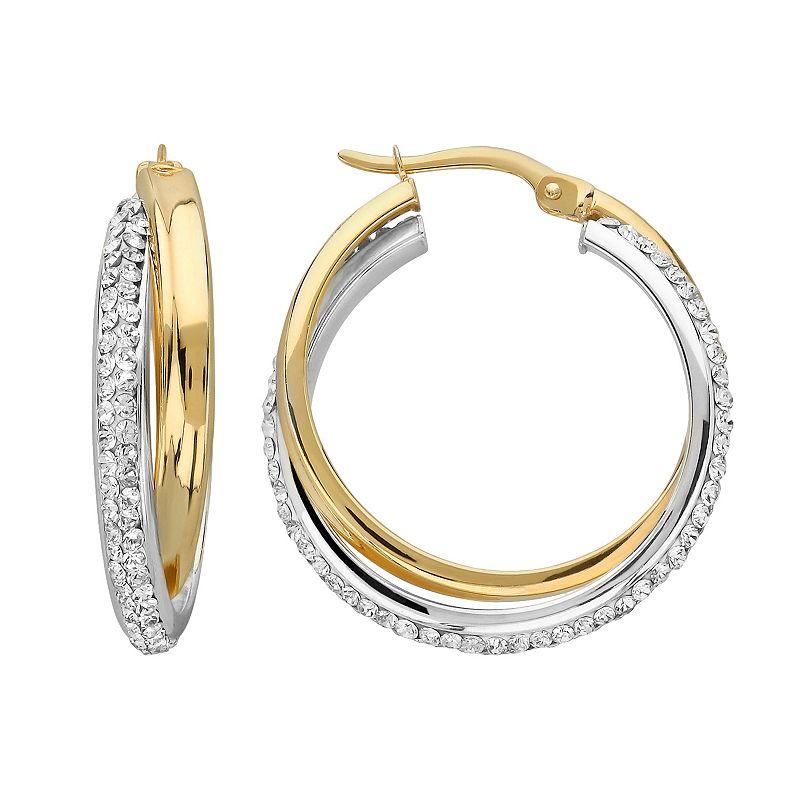 10k Gold-Bonded Sterling Silver Crystal Twist Hoop Earrings