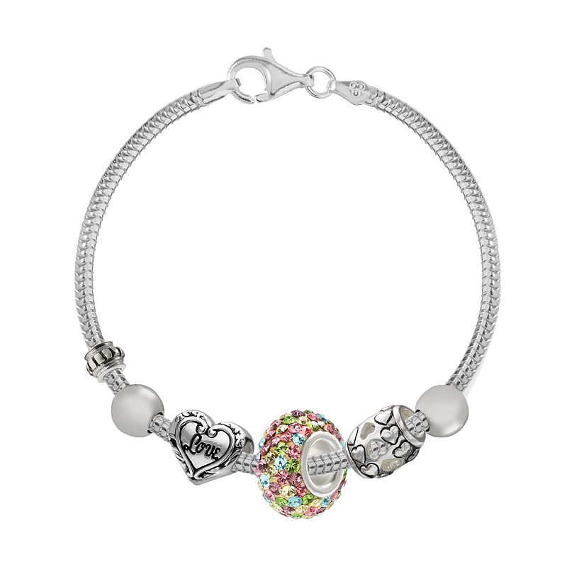 Individuality Beads Sterling Silver Snake Chain Bracelet and Crystal and Love Heart Bead Set - 7.5-in.